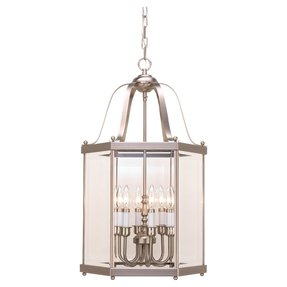 Sea Gull Lighting 5216-962 6-Light Camden Hall Collection Hall and Foyer Fixture, Clear Beveled Glass and Brushed Nickel