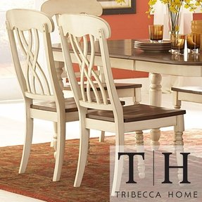 Theses Charming Set Of Two Dining Chairs Would Make a Perfect Addition to the Country Style Dining Room Chair in Your Home. It's Made of Solid Hardwood w/ a Two-toned Butter Cream & Distressed Cherry Finish! White Dining Chairs Are Very Comfortable!
