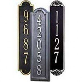 Vertical address plaques for house