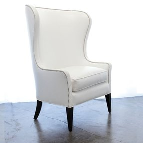 White Leather Wingback Chair Foter