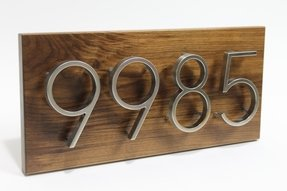 Wood address plaque