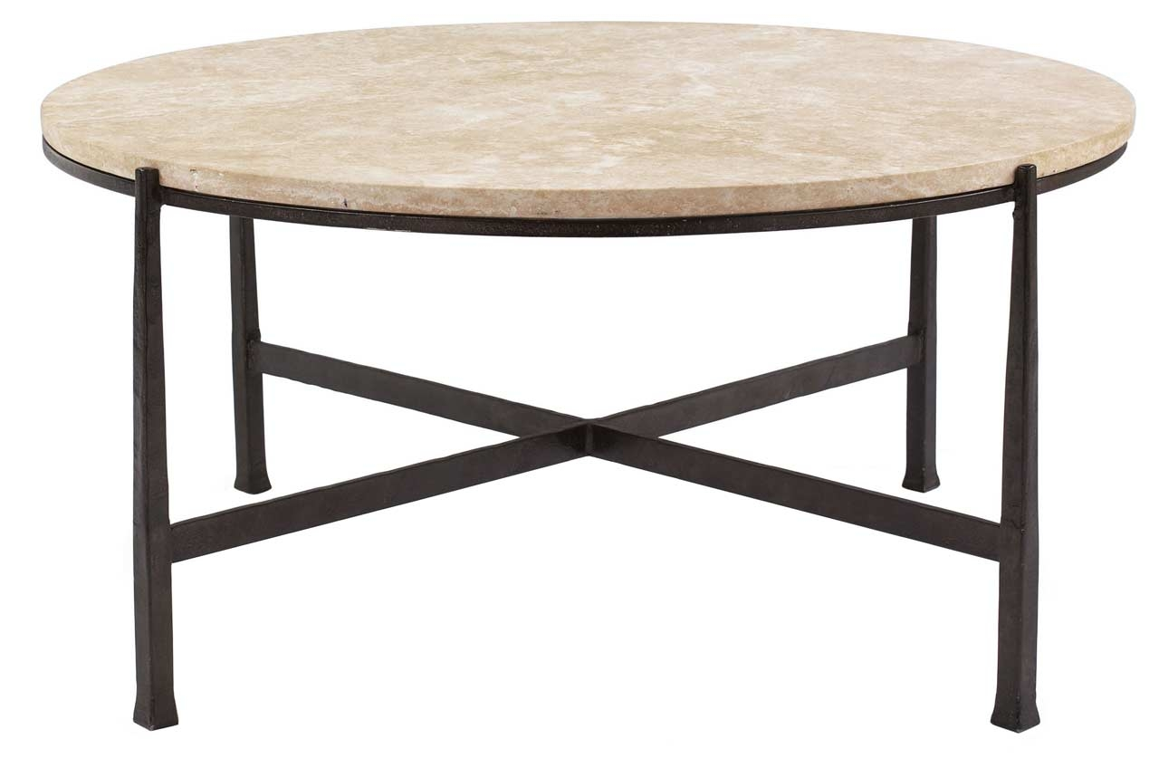 Marble Top Round Coffee Table in Black Wrought Iron