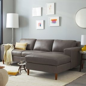 York 2 piece leather sectional