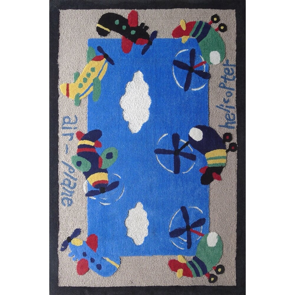Zoomania Air Plane Blue Children's Area Rug