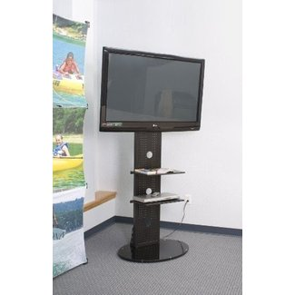 74-inch-tall Floor Stand for TV Between 32 and 70 inches, 2 Metal Shelves, Heavy Glass Base - Black