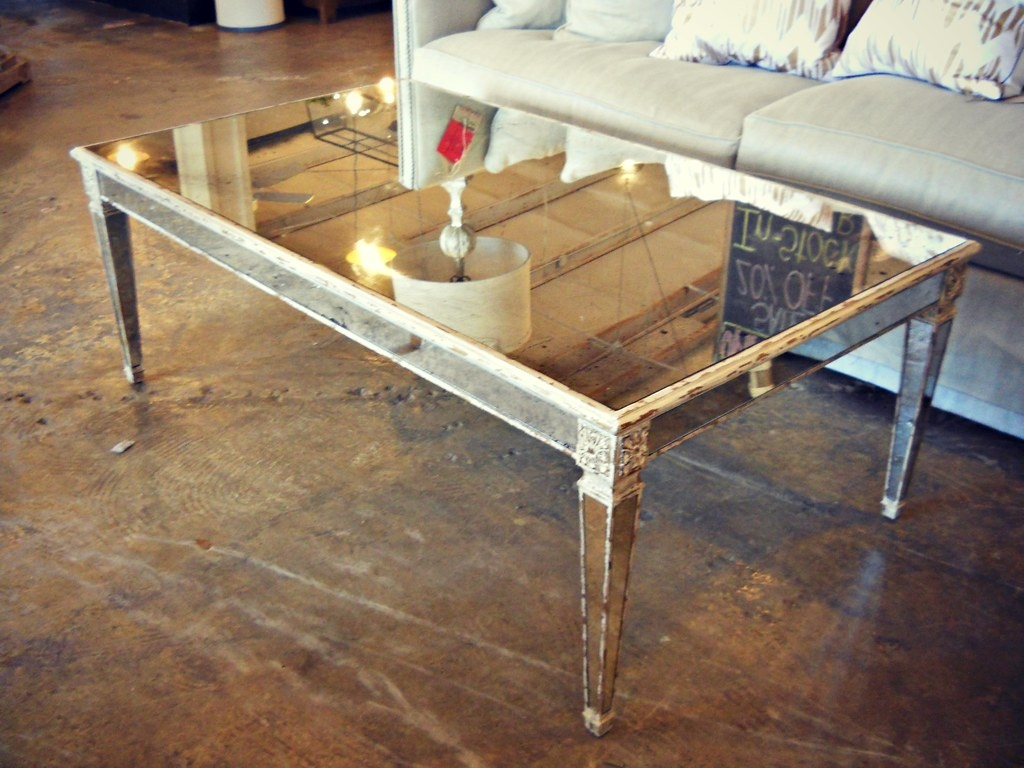 Black mirrored coffee table