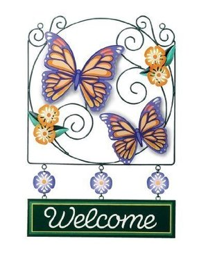 Butterflies Welcome Sign Hang Yard or Garden Decor