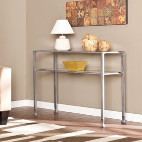 Contemporary, Long, Narrow, Distressed Silver Metal and Glass Console Table | Modern Console Tables for Entryway or Living Room Don't Get Better Than This!