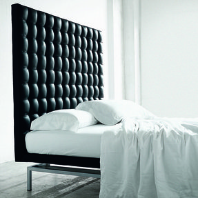 Cream leather headboard king size