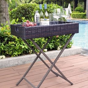 Crosley Palm Harbor Outdoor Wicker Butler Tray CO7206-BR Brown