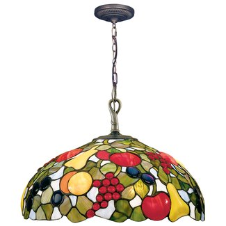 Dale Tiffany 7362/1LTA Fruit Jewels Pendant Light , Antique Brass and Art Glass Shade