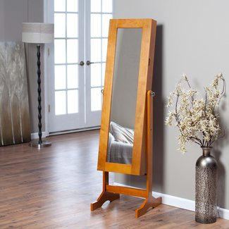 Finley Home Modern Jewelry Armoire Cheval Mirror -, Oak, MDF