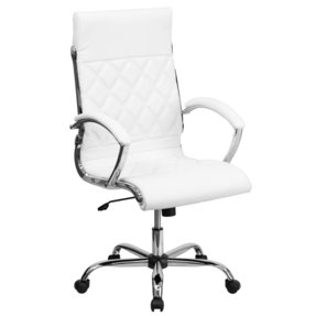 Flash Furniture High Back Designer White Leather Executive Office Chair with Chrome Base [GO-1297H-HIGH-WHITE-GG]
