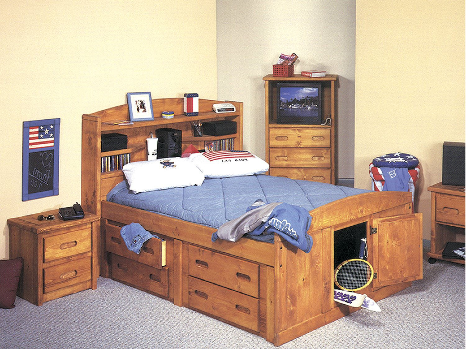 Full size bed with bookcase headboard 2