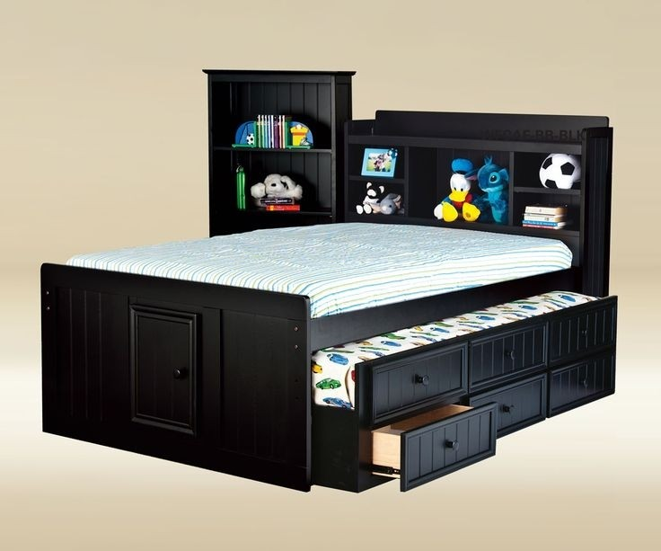 Full Size Bed With Bookcase Headboard
