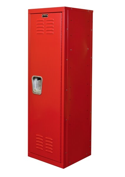 "Hallowell Kid Locker, 15""W x 15""D x 48""H, 721 Relay Red (red), Single Tier, 1-Wide, Knock-Down"