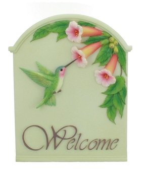 Hummingbird & Trumpet Welcome Sign - Ibis & Orchid Design Collection