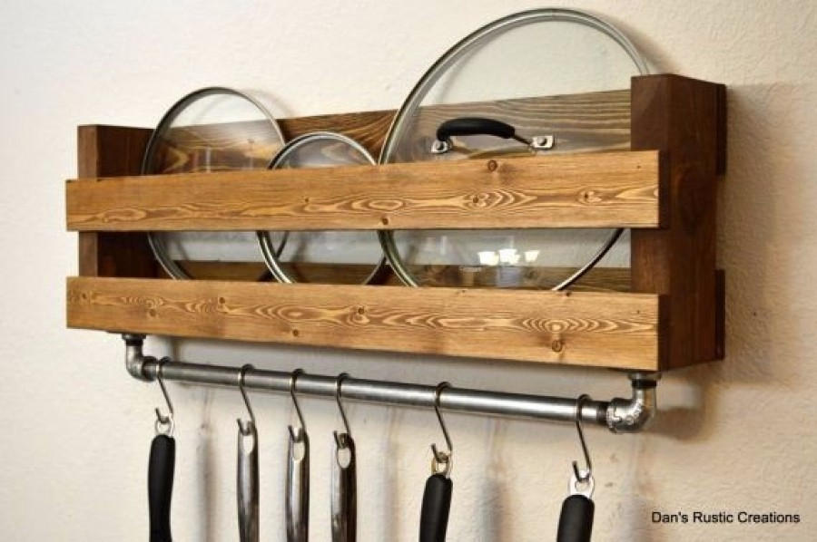 Industrial rustic pot rack utensil