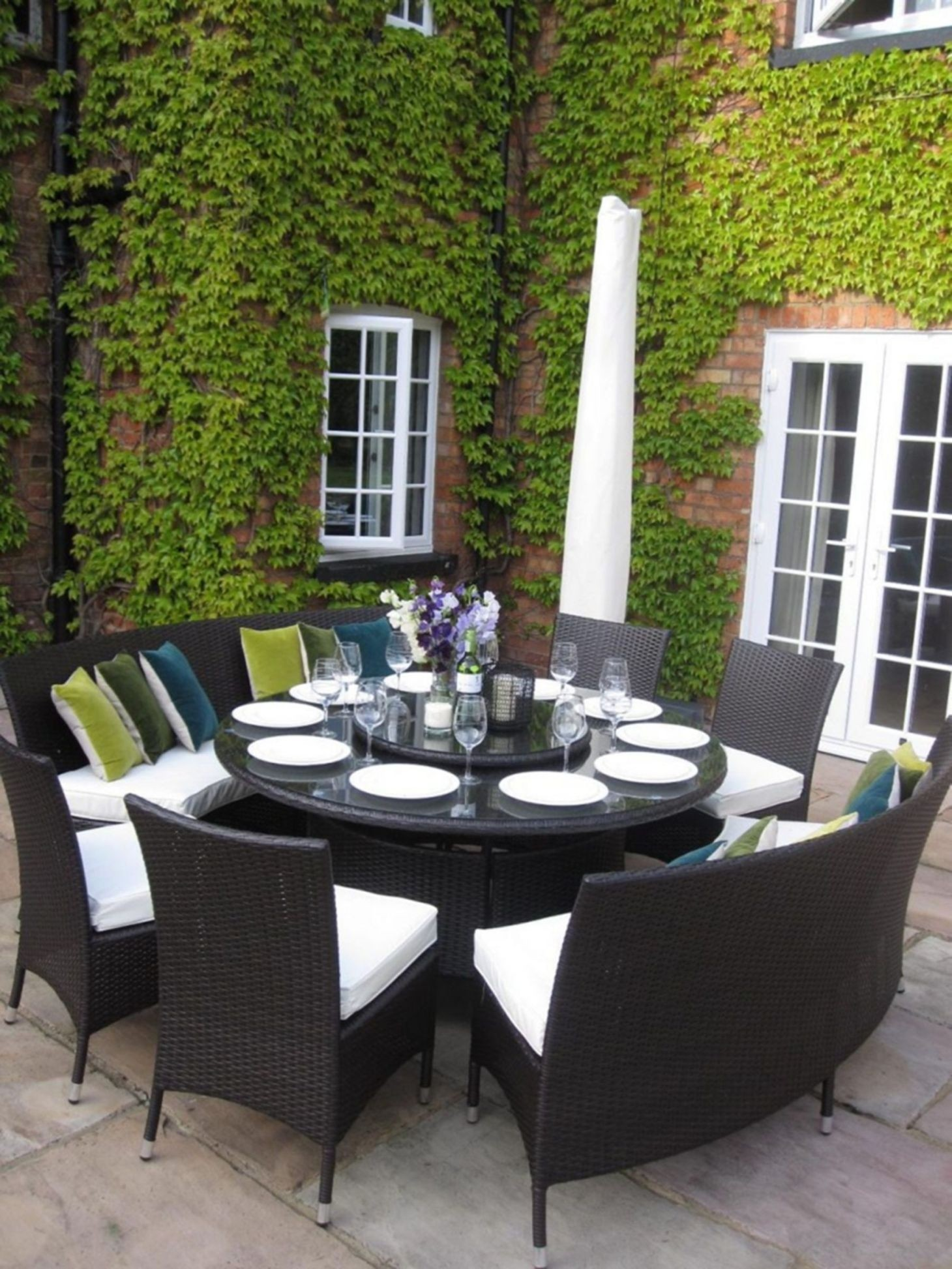 Large Round Dining Table Benches And Chairs Rattan Garden Furniture