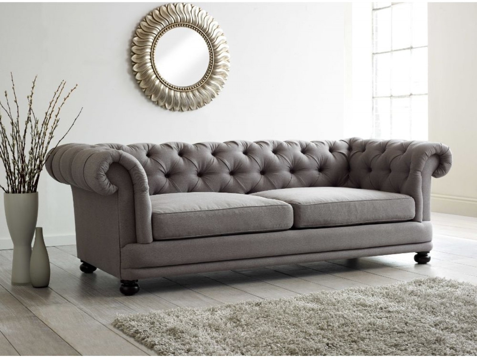 Exceptional Leather Button Back Sofa