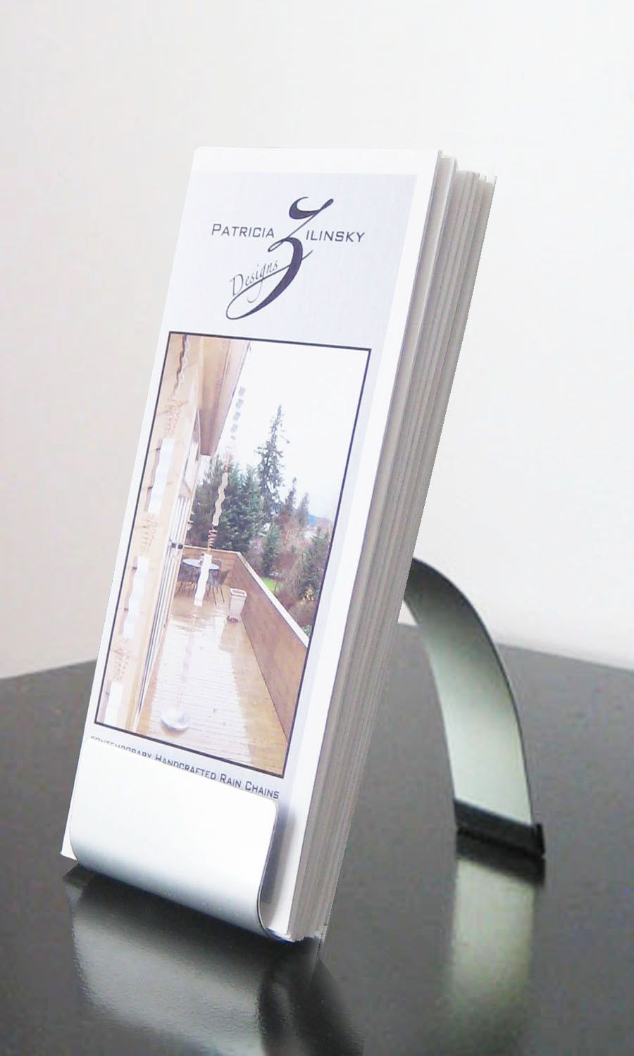 Modern metal brochure holder