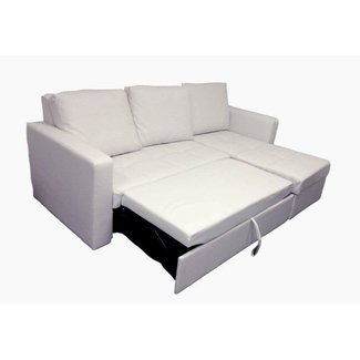 Modern White Sectional Sofa With Storage Chaise Couch Sleeper Futon