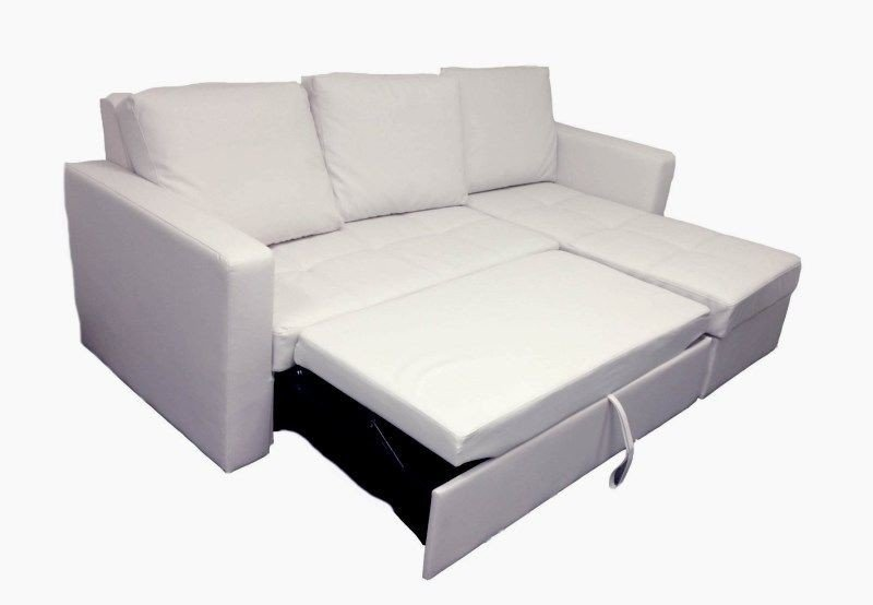 Gentil Modern White Sectional Sofa With Storage Chaise Couch Sleeper Futon