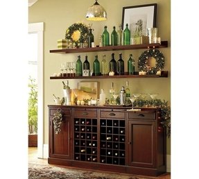 Modular bar buffet with 2 wine bases 2 cabinets 1