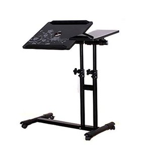 PAG 4 Wheels Laptop Desk Assemble Table Adjustable Hight and 360 Degree Rotatable Desktop Tray ,Black