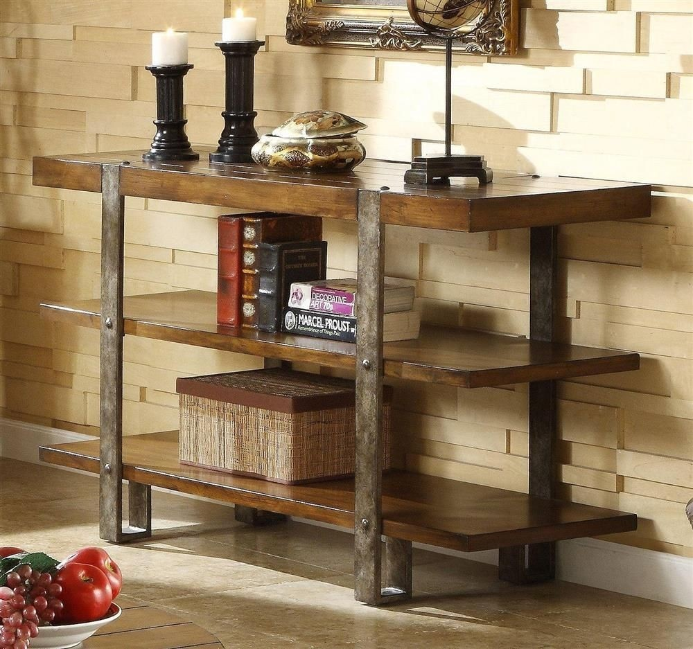 Riverside Furniture Riverside Sierra Sofa/Console Table, Oak, Mindi Veneer  And Wood With