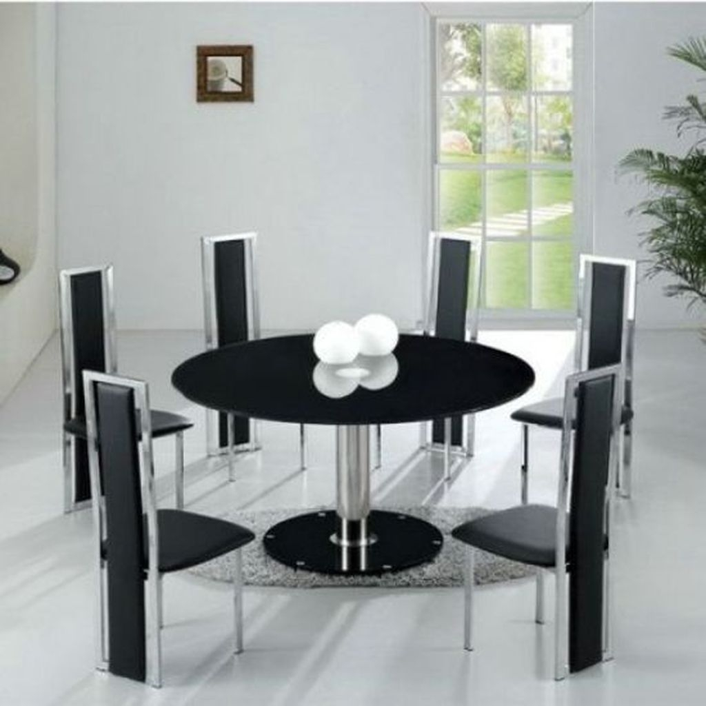 Charmant Glass Round Dining Table For 6   Ideas On Foter