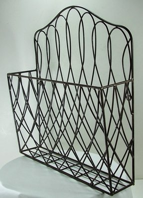 Rustic Style Metal Wire Scroll Wall Pocket Organizer Magazine Flower File Holder