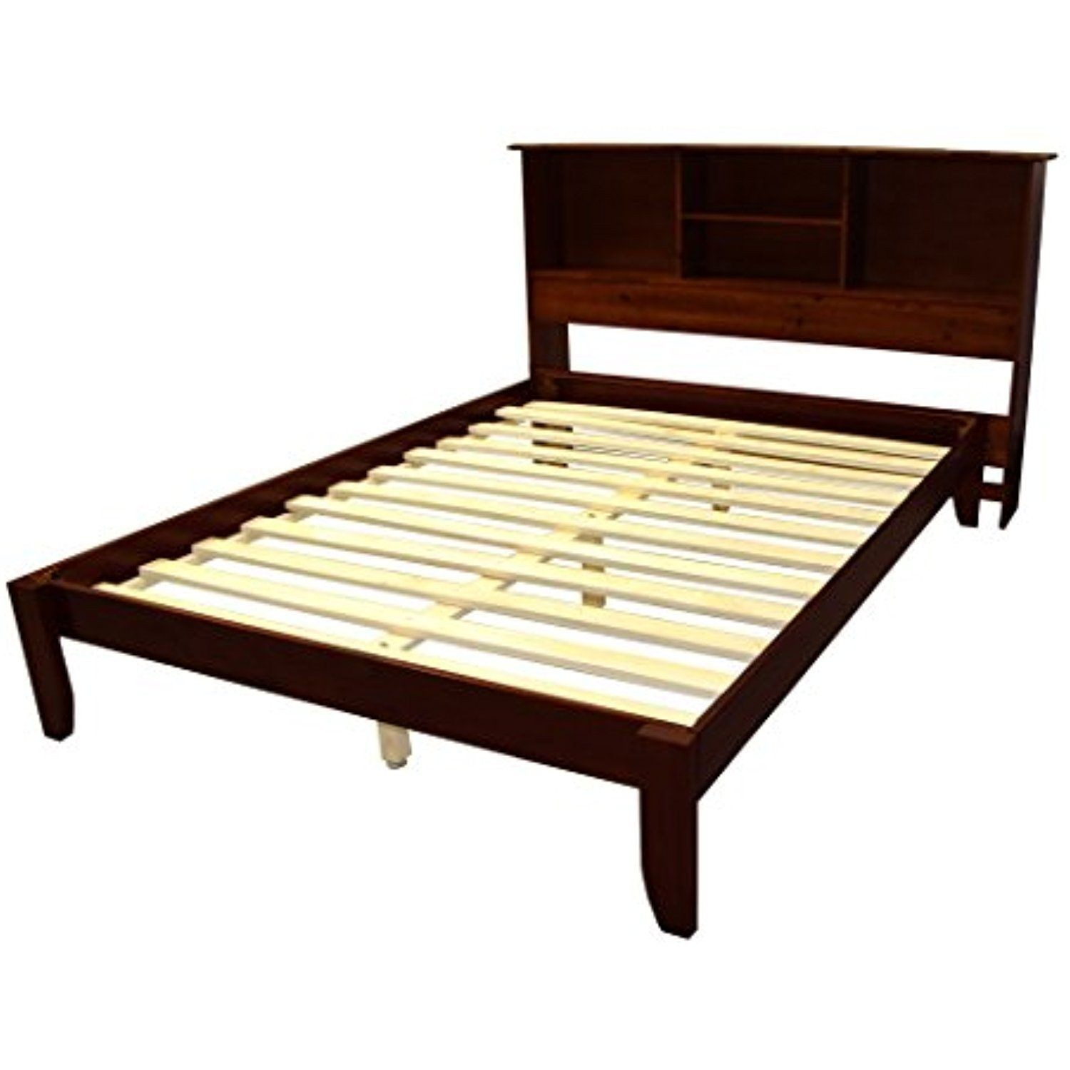 Scandinavia full size solid wood platform bed with bookcase headboard
