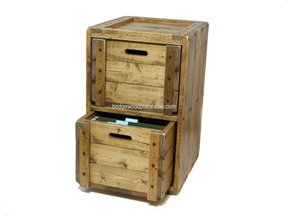 Beau Solid Wood File Cabinet Rustic Office