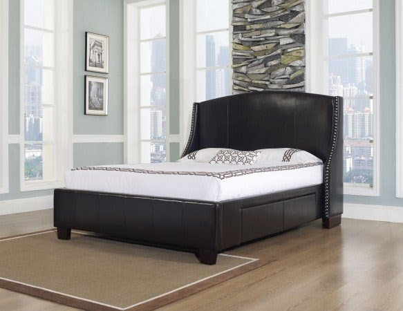 Venice x cal king size chocolate leather bed