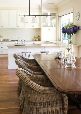 Wicker indoor dining chairs