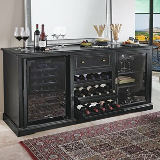 Wine enthusiast siena wine credenza with 28 bottle touchscreen wine