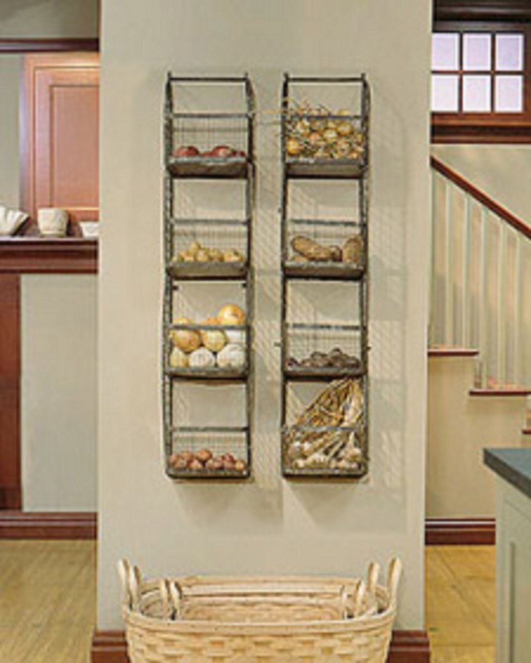 Rustic Produce Bins/Metal Shelf Stand & Wall Mount for ...