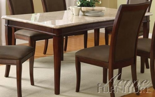 ACME 70060 Britney White Marble Top Dining Table, Cherry Finish