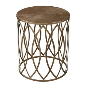 Antique gold finish round metal accent table 2