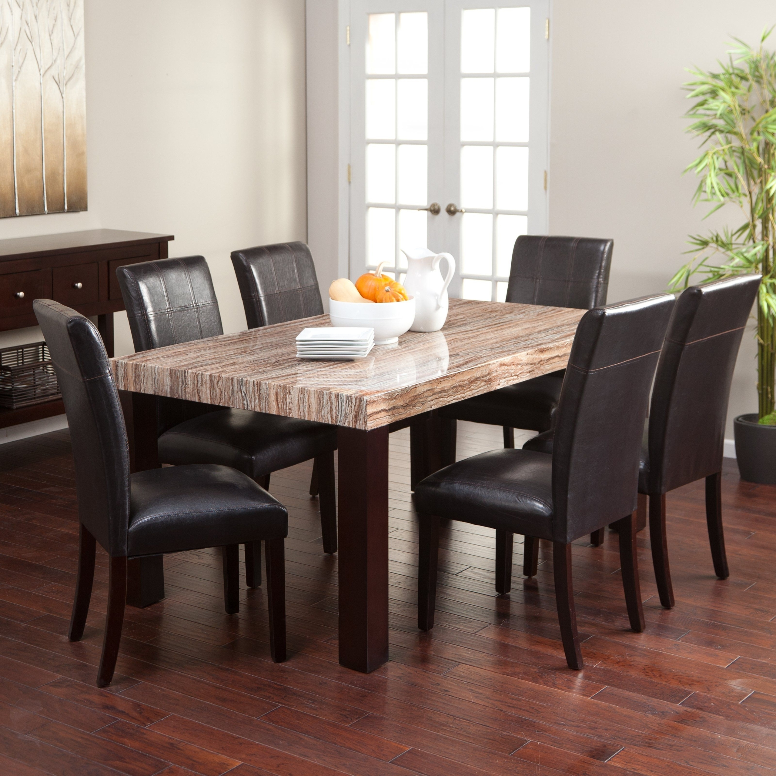 Beautiful 7 Piece Dining Room Table Set With Black Leather Chairs And Faux  Marble Top Dinner