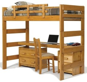 Chelsea Home Loft Bed With Desk Top