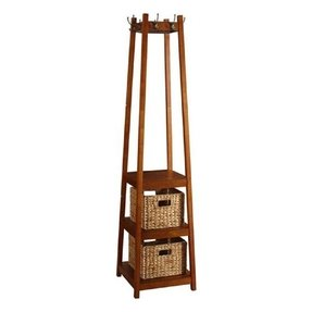 "Coat Rack Stand Wood with Three Shelves and Two Baskets, 72"" H Brown"