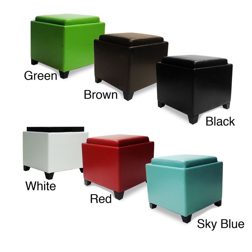 Contemporary Storage Ottoman With Tray 9