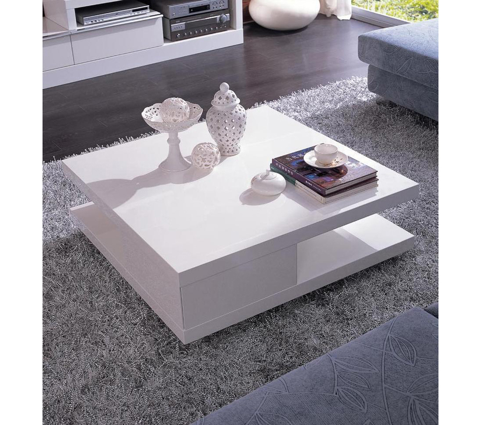 Modern Coffee Table With Square Top. It Is Made Of Wood And Covered With  White Coat Of Lacquer. Includes Additional Shelf For Storing Books,  Magazines And ...