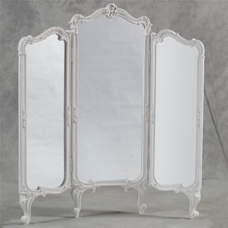 French shabby chic 3 fold dressing mirror room divider screen