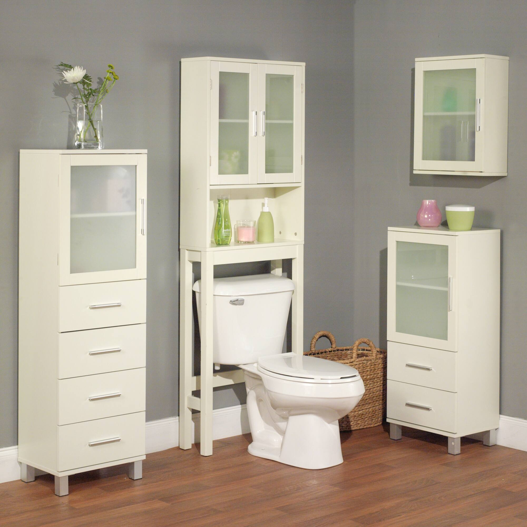 Frosted Pane Shelf White Linen Cabinet 2 Drawer 2 Bathroom Storage Cabinet.  Great For Bath