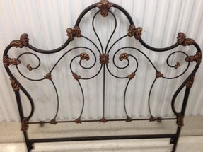 Full size antique bronze finish victorian style scrolled iron bed