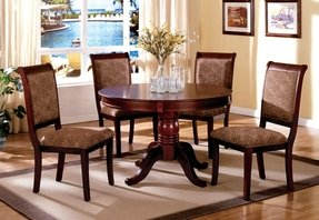 Furniture of America Bernette Transitional Style Round Dining Table with 18-Inch Expandable Leaf, Antique Cherry Finish