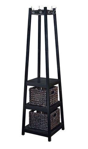 Home to Office Solutions Welcome Home Entryway Coat Rack Tower with Storage Baskets, 72-Inch, Espresso